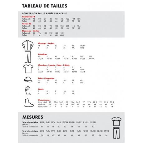 Charte des tailles - Treillis armée française sur www.equipements-militaire.com
