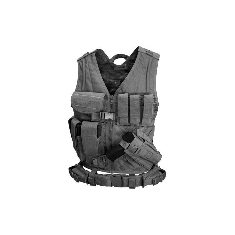 CONDOR CV-003 Gilet Tactique Crossdraw avec Ceinture /& Porte Chargeurs Noir
