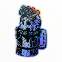Stickers Holographique Stone Drunk Born to Chill