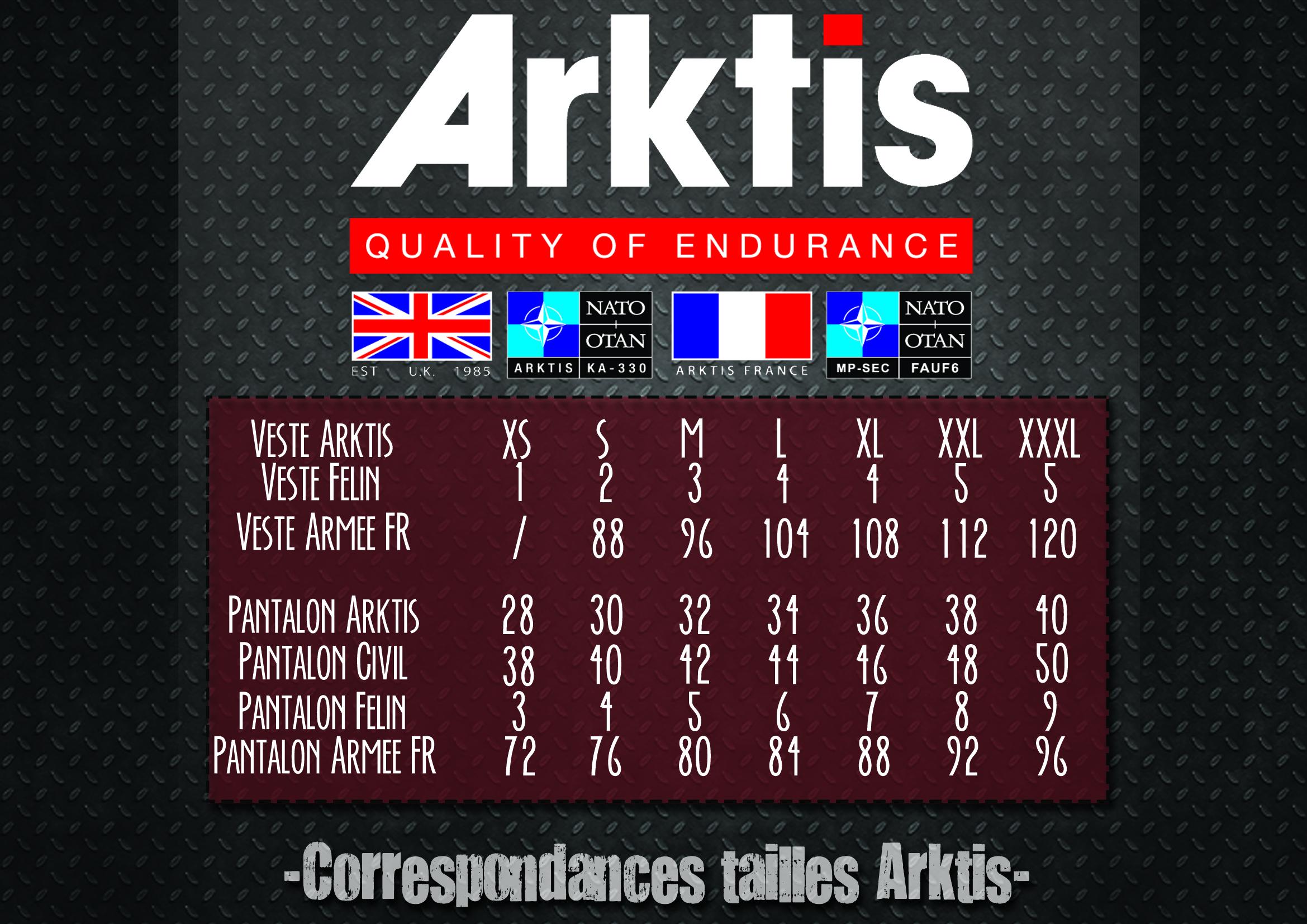 Charte des Tailles Arktis Ltd. - Equipements-militaire.com